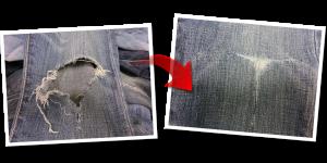 膝の破れ|ジーンズリペア